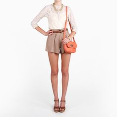 Khaki Flounce Shorts Bottom by Iris