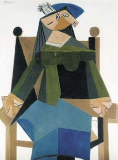 Pablo Picasso - Woman sitting in an armchair, 1941 Pablo Picasso Quotes, Pablo Picasso Drawings, Kunst Picasso, Picasso Art, Picasso Paintings, Paintings I Love, Oil Paintings, Indian Paintings, Landscape Paintings