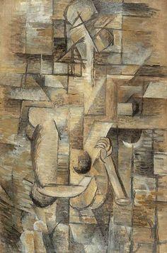 """Artista: Georges Braque """"Mujer con mandolina"""" Fecha de realización: 1910 Técnica: Óleo sobre lienzo"""