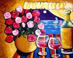 Sailboat Art, Sailboats, Alcohol Pictures, Primitive Folk Art, Pattern Art, Art Patterns, Summer Art, Whimsical Art, Paintings For Sale