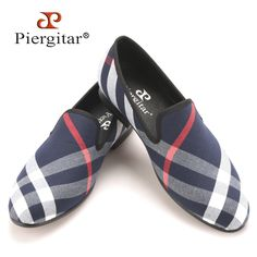 Piergitar Blue and white plaid canvas shoes luxurious brand men loafers black pig leather insole men 's casual shoes men's flats