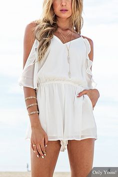 White Off Shoulder Ruffle Playsuit with Elastic Waist
