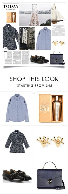 """""""Blue with some touches of gold"""" by kelly-m-o ❤ liked on Polyvore featuring Authentic Models, Yves Saint Laurent, Claudie Pierlot, Aspinal of London, Levi's and Karl Lagerfeld"""