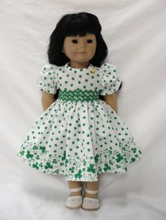 American Girl Doll Dress  Green Shamrocks by DollClothesByJane, $19.00