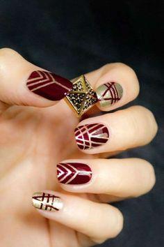 Burgundy and Gold nail polish
