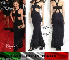 Maxi-abito-lungo-corpetto-paillettes-nero-spacco-vestito-sera-Miranda-Kerr-dress