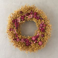Strawflower, globe amaranth, and natural flax Valentine Day Wreaths, Valentine Decorations, Christmas Wreaths, Valentines, Globe Amaranth, Outdoor Wreaths, Lavender Roses, Flower Farm, Wreaths For Front Door