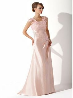 Sheath Scoop Neck Sweep Train Charmeuse Lace Mother of the Bride Dress With Ruffle