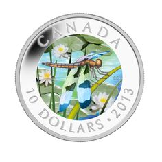 The first issue in the Royal Canadian Mint's exciting Dragonfly series featuring coloured dragonflies set in holograms. The first coin features the beautiful Libellula pulchella - the Twelve-Spotted Skimmer.