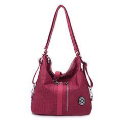 Women Waterproof Nylon Lightweight Multifunction Handbag Crossbody Bag Backpack
