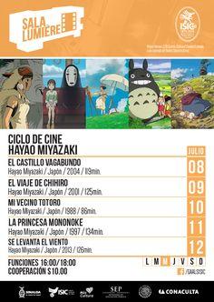 Cartelera Sala Lumiére del ciclo de cine: Hayao Miyazaki. Del 8 al 12 de julio de 2015. Dos funciones: 16:00 y 18:00 horas. Cooperación: $10.00  #Culiacán, #Sinaloa.