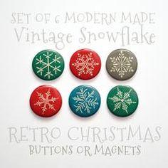 Christmas Snowflake- Christmas Buttons 1 inch or Christmas Magnets