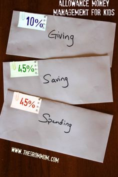 A Chore System, and Money Management for Kids:  A Video. 10% each, giving and investment... 40%each, spending and saving