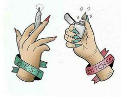 dope art Tag your best bitch! Bestie Tattoo, Bff Tattoos, Best Friend Tattoos, Arte Dope, Dope Art, Drugs Art, Marijuana Art, Stoner Art, Weed Art
