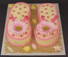 How adorable are these flip flop cakes! Great birthday party for my special friend. Pretty Cakes, Cute Cakes, Beautiful Cakes, Amazing Cakes, Flip Flop Cakes, Flip Flops, Flip Flop Cake Ideas, Fete Marie, Summer Cakes