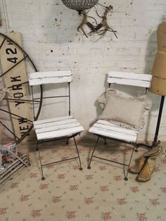 Painted Cottage Chic Shabby White French Farmhouse Chairs ...like these!
