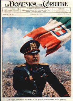 16 June 1940, Mussolini,  illustration by Achille Beltrame