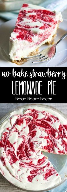 No Bake Strawberry Lemonade Pie is an easy to make dessert with bright citrus & berry flavors everyone loves! via /breadboozebacon/