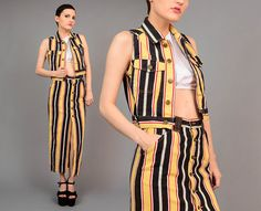 Vintage Esprit 90s Striped High Waist Jean Maxi Skirt Cropped Vest Grunge 2 Piece Ensemble XS S by SHOPPOMPOMVINTAGE