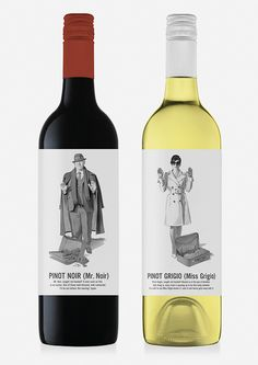 Mr Noir and Miss Grigio - Marauding Vintners brand, designed by /M/A/S/H/ with illustrations by Harry Slaghekke.