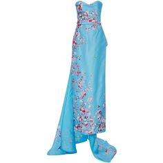 Monique Lhuillier Strapless Column Gown with Train ($4,995) ❤ liked on Polyvore featuring dresses, gowns, long dress, floral ball gown, blue evening gown, blue floral dress, floral dress and blue silk dress