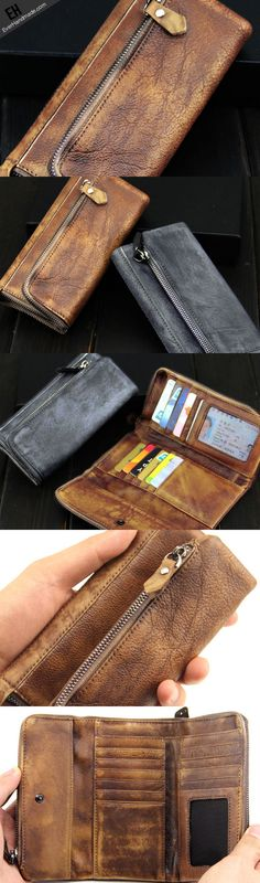Handmade men long leather wallet men vintage gray brown long wallet for him