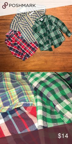 Boys 24M Button Down Bundle EUC short sleeve Genuine Kids by OshKosh button down. EUC green & blue & red & blue healthtex long sleeve button downs. Osh Kosh Shirts & Tops Button Down Shirts