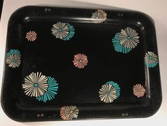 Vintage 50s 60s Set 4 Mid Century Mod Atomic Metal TV Trays Aqua Pink Metal Tv Trays, Vintage Tv Trays, Serving Trays, Free Coloring, Canisters, Tins, Aqua, Mid Century, Touch
