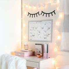 The coziest desks space! Recreate this awesome DIY with washi tape and the long string light set!