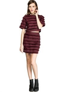 """Sister Jane Burgundy fringe tassel two piece dress set with back zipper closure. Can be worn together or styled separately. Wear this cute matching coords with pointy ankle boots.*100% polyester*Model is wearing size s and model's height is 5'10""""/178cm."""