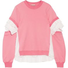 CLU Plissé tulle-paneled French cotton-terry sweatshirt (25,440 PHP) ❤ liked on Polyvore featuring tops, hoodies, sweatshirts, pink, cut-out tops, terry top, cut out sweatshirt, clu and tulle top