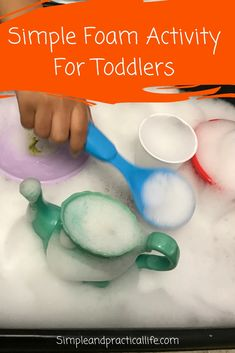 Dish soap, water, & a blender are all you need for this quick & easy foam activity for toddlers & kids.