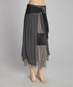 Look at this #zulilyfind! Gray & Black Floral-Trim Linen-Blend Maxi Skirt #zulilyfinds