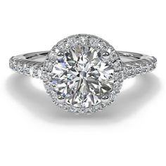 Halo French-Set Diamond Band Engagement Ring in Platinum (0.39 CTW) ❤ liked on Polyvore