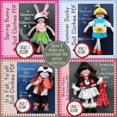 """Doll Clothes BUNDLE 4 Seasons Girl Collection for 12"""" Felt Zoey Doll with 4 Outfits PDF Sewing PATTERNS"""