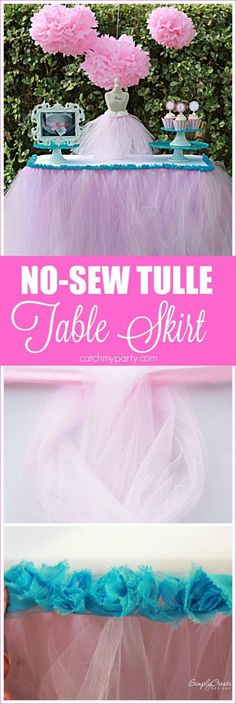 Learn to make this no-sew tulle table skirt DIY which is so easy and would look so pretty at your princess party! CatchMyParty.com
