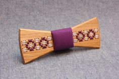 Wooden Bow Tie PENGUIN™ / ETHNO. Exotic Bow tie with embroidery. FREE shipping wooden bowtie by PenguinBowTie on Etsy