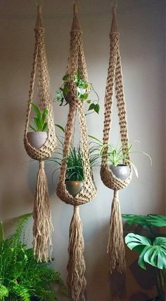 Double venus macramé plant hangers choose one or sets retro bohemian duo matching or order any one large long jute boho hippie Macrame Design, Macrame Art, Macrame Projects, Macrame Knots, Micro Macrame, Macrame Mirror, Crochet Dreamcatcher, Macrame Curtain, Indoor Plant Hangers