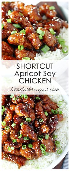 Shortcut Apricot Soy Chicken Recipe: Frozen popcorn chicken is coated in a sweet and tangy apricot sauce in this quick and easy meal. #chicken