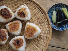 Grilled onigiri rice balls with miso paste.