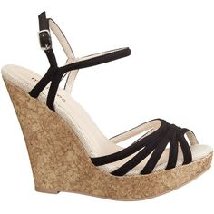 Jia Cork Wedge Sandal ($4.99) ❤ liked on Polyvore featuring shoes, sandals, heels, high heel shoes, strap heel sandals, strappy platform sandals, platform shoes and strap high heel sandals