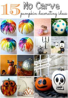 It's almost pumpkin season. Check out these 15 No Carve Pumpkin Decorating Ideas to make your Halloween decorating extra fun this year!