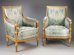 Pair of Arm Chairs designed for the reception room of Madame Elisabeth, sister of Louis XVI, King of France, at the Chateau de Montreuil (Versailles). Royal Furniture, Custom Made Furniture, French Furniture, Classic Furniture, Antique Furniture, Furniture Sets, Retro Furniture, Furniture Styles, Louis Seize