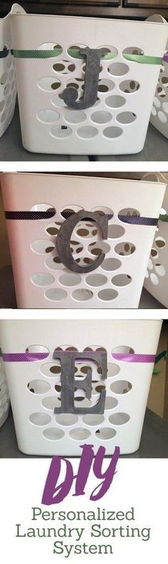 DIY Laundry Organization System - help make it easy for your kids to put away…