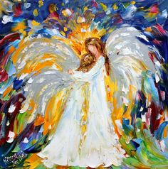 Original oil painting Heavenly Hugs Angel by Karensfineart on Etsy