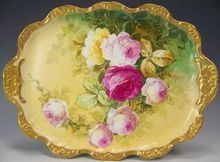 """GORGEOUS VICTORIAN ROSES"" Beautiful Antique Limoges France Dresser or Handled SERVING TRAY Vintage Heirloom China Painting on French Porcelain Hand Painted Artist Signed ""Jean P."" Floral Art Decorative China Painting circa 1890's"