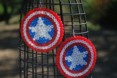 Captain America's Shield- Perler Bead Earrings. $5.00, via Etsy.
