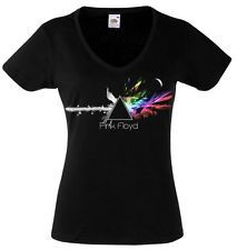 PINK FLOYD Dark Side of The Moon2 Lady Black T-shirt Rock Woman V-neck Rock Band