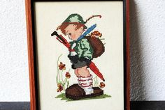 Hummel Counted Cross Stitch Little Boy by vintageeclecticity, $54.00