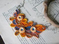Ephemera necklace Orange and blue necklace statement